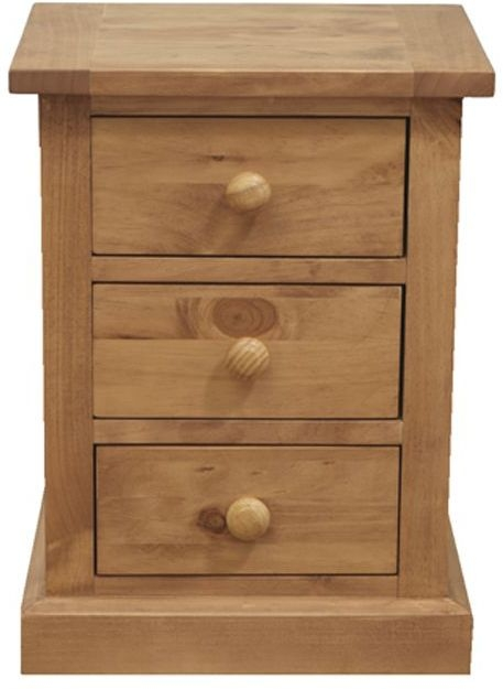 Vida Living Devon Pine Bedside Cabinet - 3 Drawer