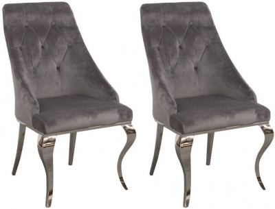 Vida Living Cassia Grey Velvet Dining Chair (Pair)