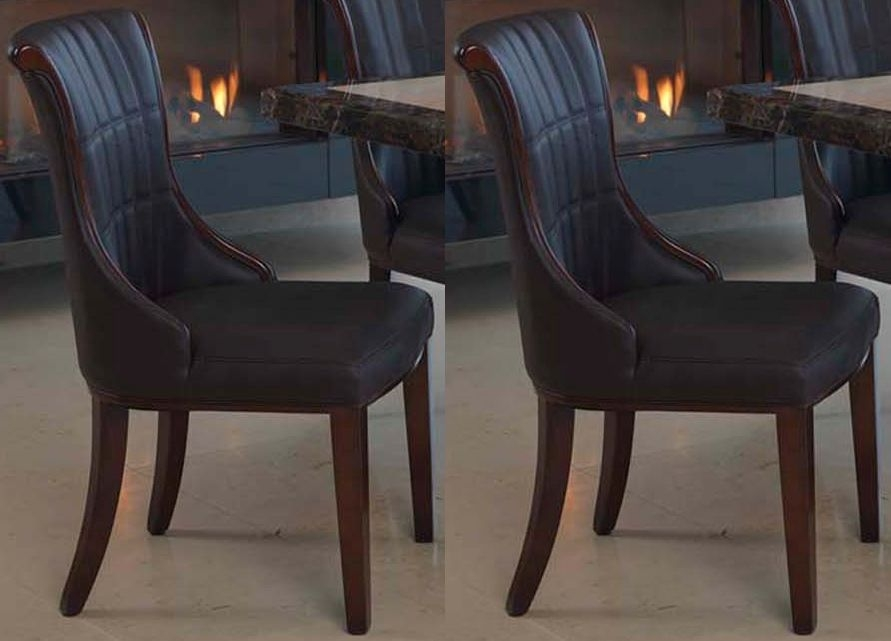 Vida Living Ravelli Brown Faux Leather Dining Chair (Pair)
