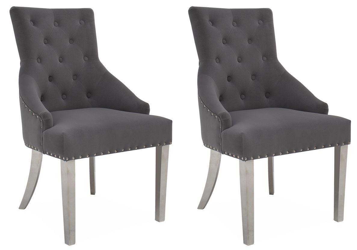 Vida Living Estela Grey Velvet Knockerback Dining Chair (Pair)