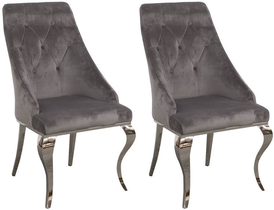 Vida Living Cassia Grey Velvet Fabric Dining Chair (Pair)