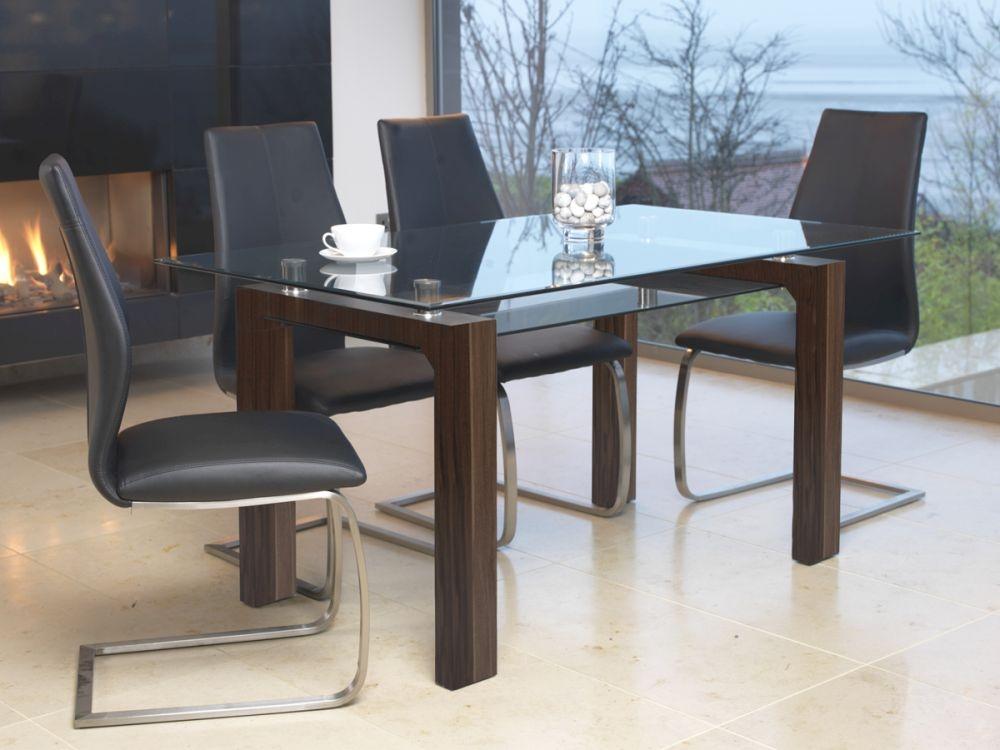 Vida Living Maya Walnut Glass Dining Table