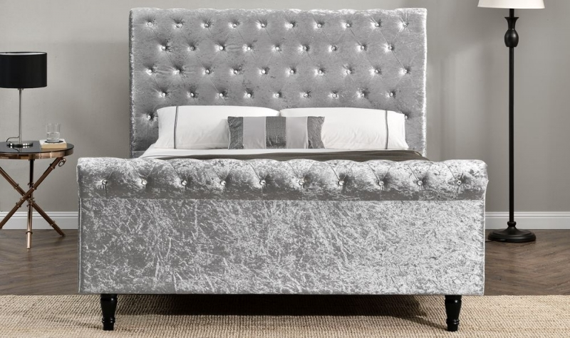 Vida Living Dione Silver Fabric Bed