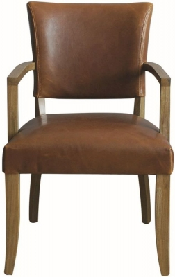 Vida Living Duke Tan Brown Leather Arm Chair