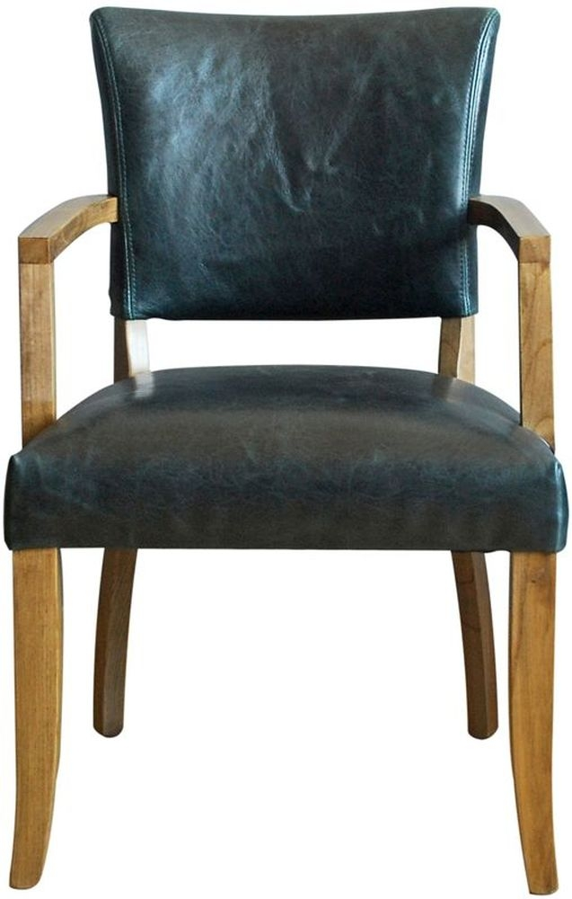 Vida Living Duke Arm Chair - Ink Blue Leather