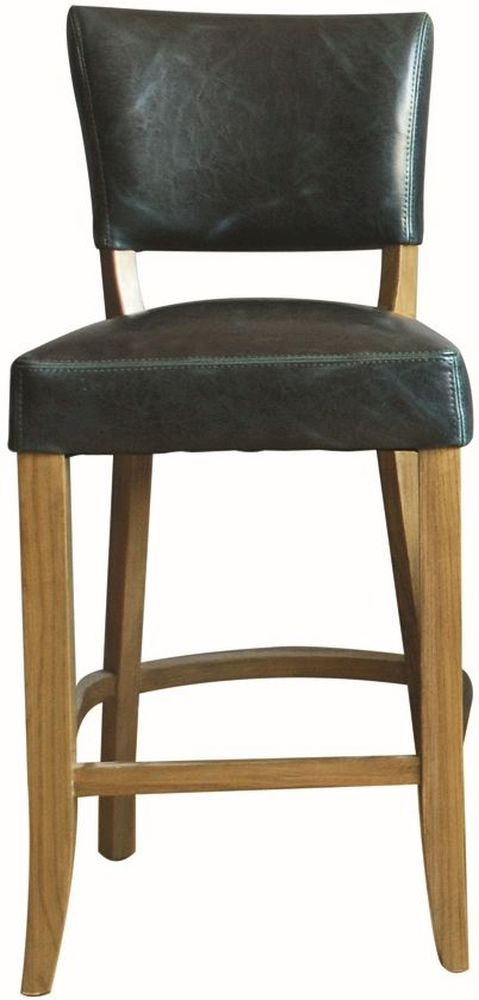 Vida Living Duke Bar Chair - Ink Blue Leather