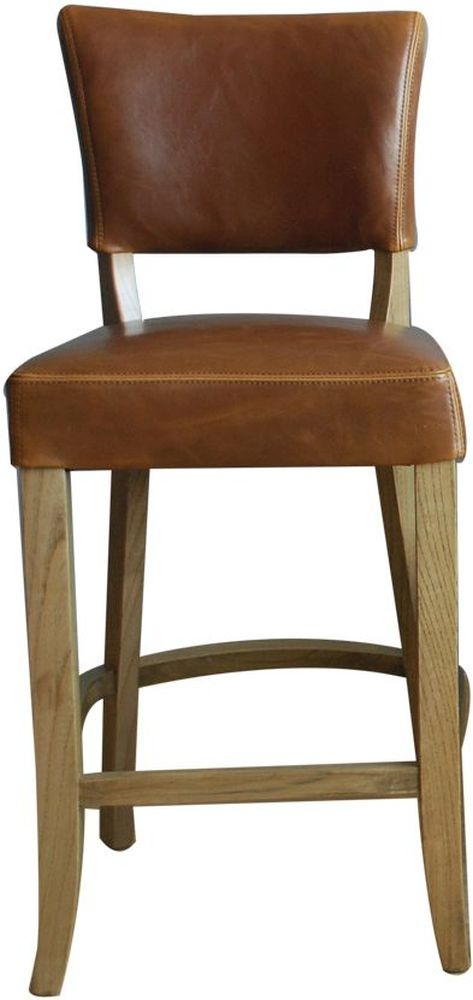 Vida Living Duke Bar Chair - Tan Brown Leather