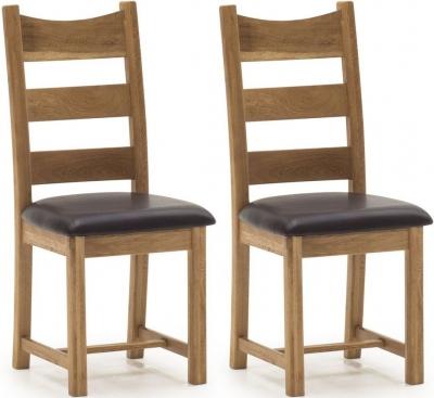 Vida Living Edmonton Oak Dining Chair with Brown Seat (Pair)