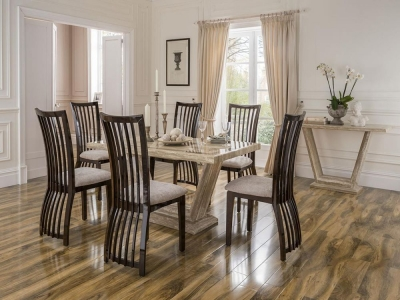 Vida Living Elgin Marble Sahara Dining Set - Large with 6 Stone Fabric Chairs