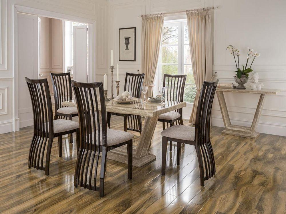 Vida Living Elgin Marble Sahara Dining Set - Large with 6 Stone Fabric Chairs