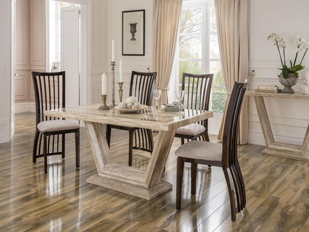 Vida Living Elgin Marble Sahara Dining Set - Small with 4 Stone Fabric Chairs