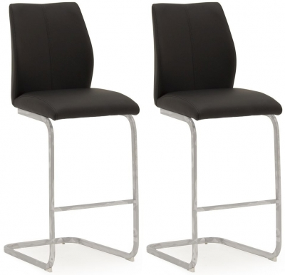 Vida Living Elis Black Faux Leather and Chrome Bar Chair (Pair)