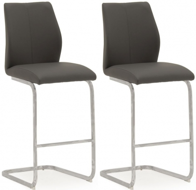 Vida Living Elis Grey Faux Leather and Chrome Bar Chair (Pair)