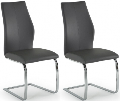 Vida Living Elis Grey Faux Leather and Chrome Dining Chair (Pair)