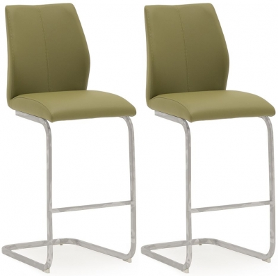 Vida Living Elis Olive Faux Leather and Chrome Bar Chair (Pair)