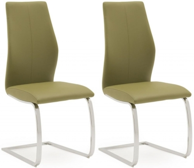 Vida Living Elis Olive Faux Leather and Chrome Dining Chair (Pair)