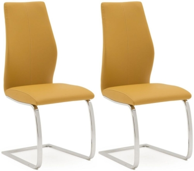 Vida Living Elis Pumpkin Faux Leather and Chrome Dining Chair (Pair)