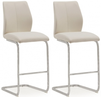 Vida Living Elis Taupe Faux Leather and Chrome Bar Chair (Pair)