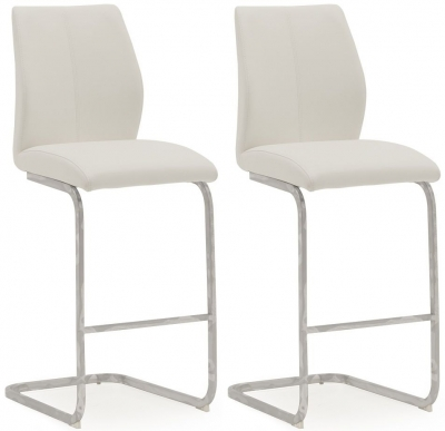 Vida Living Elis White Faux Leather and Chrome Bar Chair (Pair)