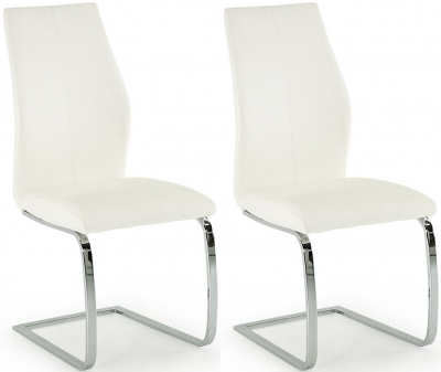Vida Living Elis White Faux Leather and Chrome Dining Chair (Pair)