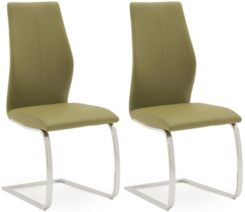 Vida Living Elis Olive Faux Leather Dining Chair (Pair)