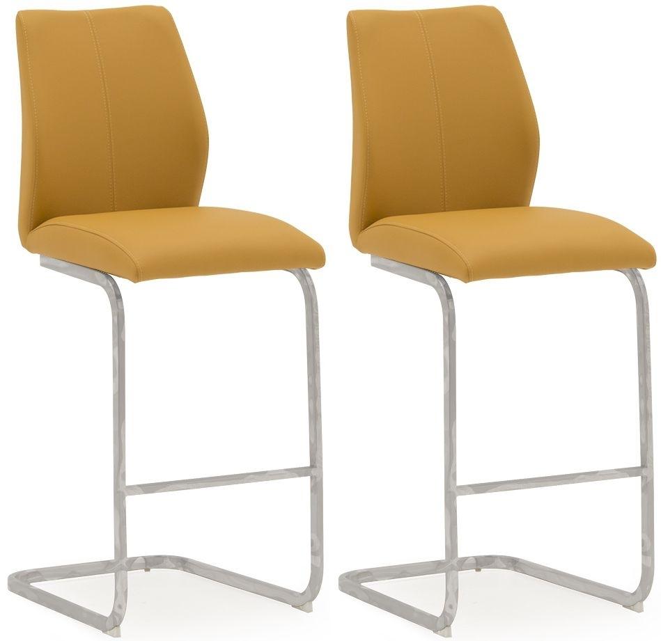 Vida Living Elis Pumpkin Faux Leather Bar Chair (Pair)