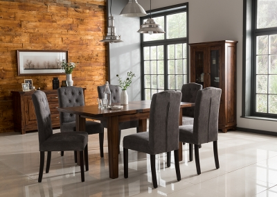 Vida Living Emerson Walnut Dining Set - Extending with 6 Dining Chairs
