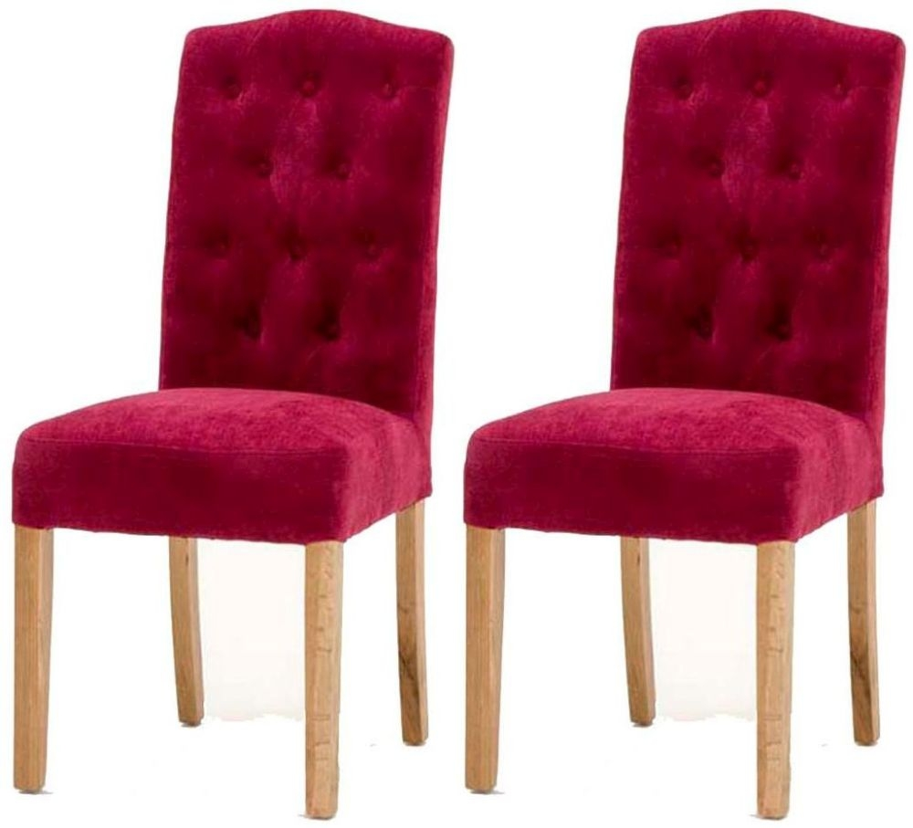 Vida Living Emerson Claret Dining Chair with Oak Legs (Pair)