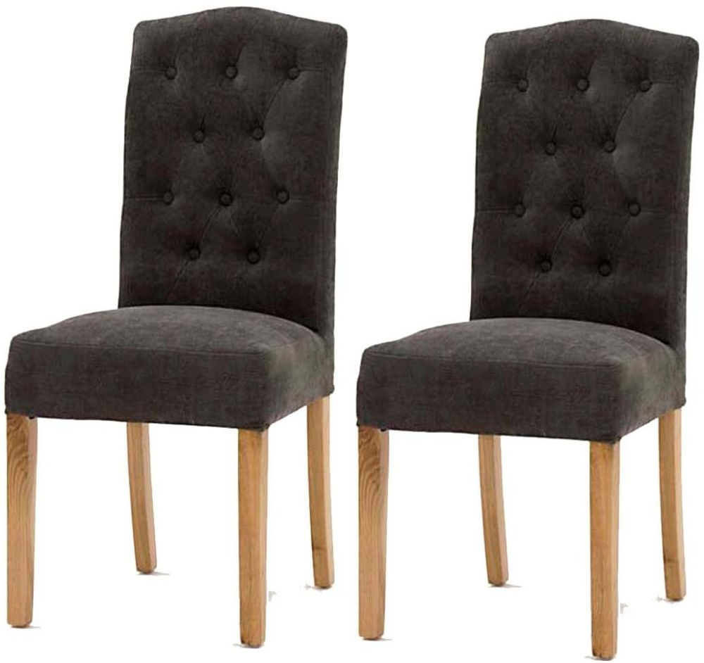 Vida Living Emerson Grey Dining Chair with Oak Legs (Pair)