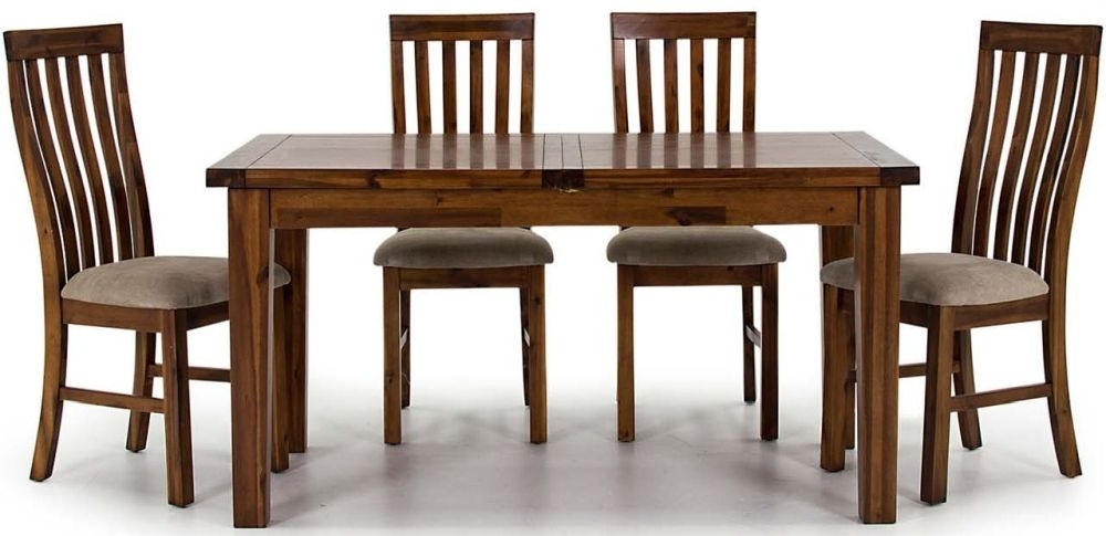 Vida Living Emerson Acacia Rectangular Extending Dining Set with Nett Slatted Back Chairs - 120cm-160cm