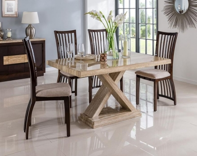 Vida Living Escala Marble Sahara Dining Set - Small with 4 Elgin Stone Fabric Chairs