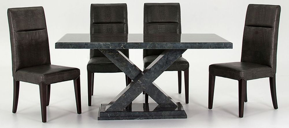 Vida Living Escala Marble Fiore Dining Set - Small with 4 Accorso Grey Faux Leather Chairs