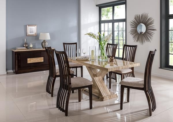 Vida Living Escala Marble Sahara Dining Set - Large with 6 Elgin Stone Fabric Chairs