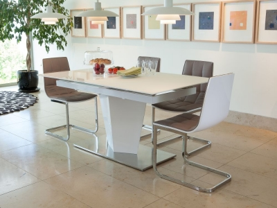 Vida Living Essence White Gloss Dining Set - Extending with 4 Dining Chairs