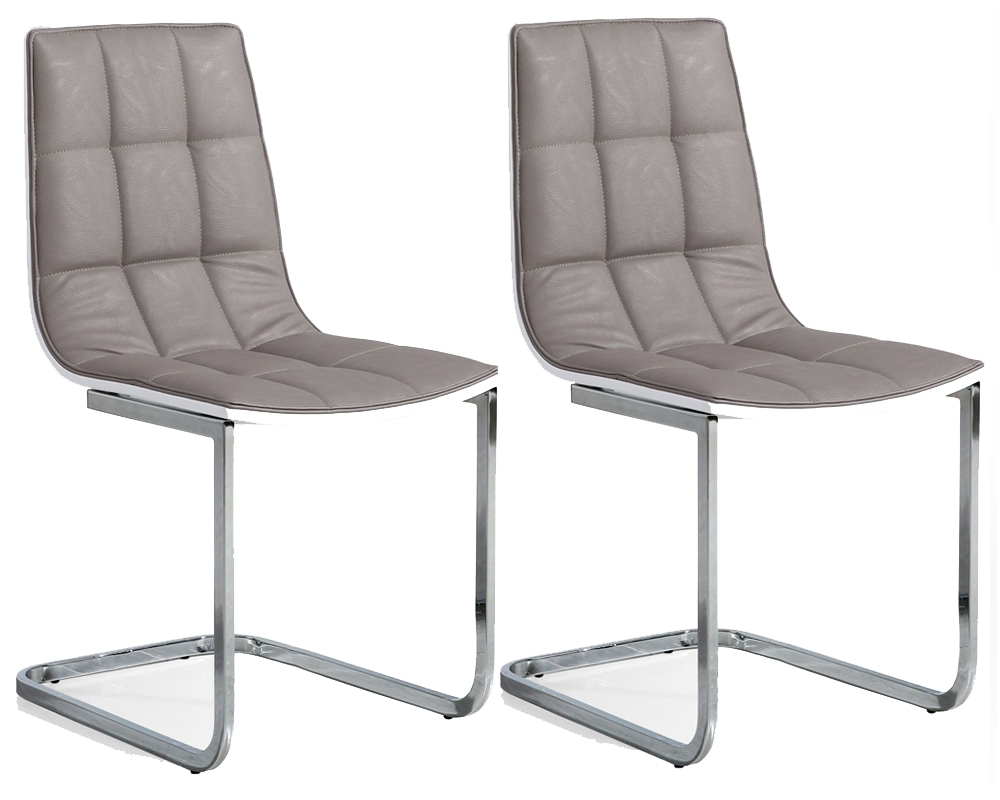 living essence grey faux leather dining chair pair online cfs uk
