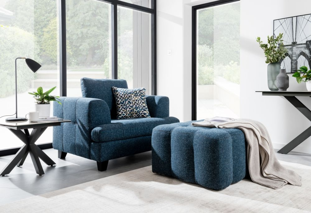 Vida Living Etta 1 Seater Sofa - Blue Fabric