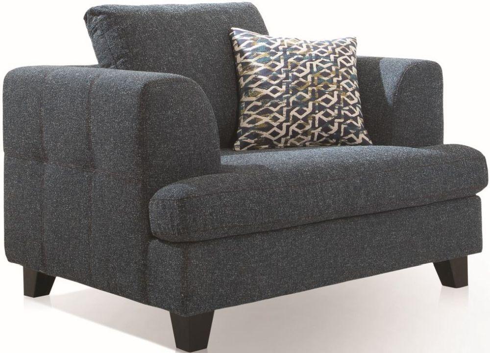 Vida Living Etta 1 Seater Sofa - Grey Fabric