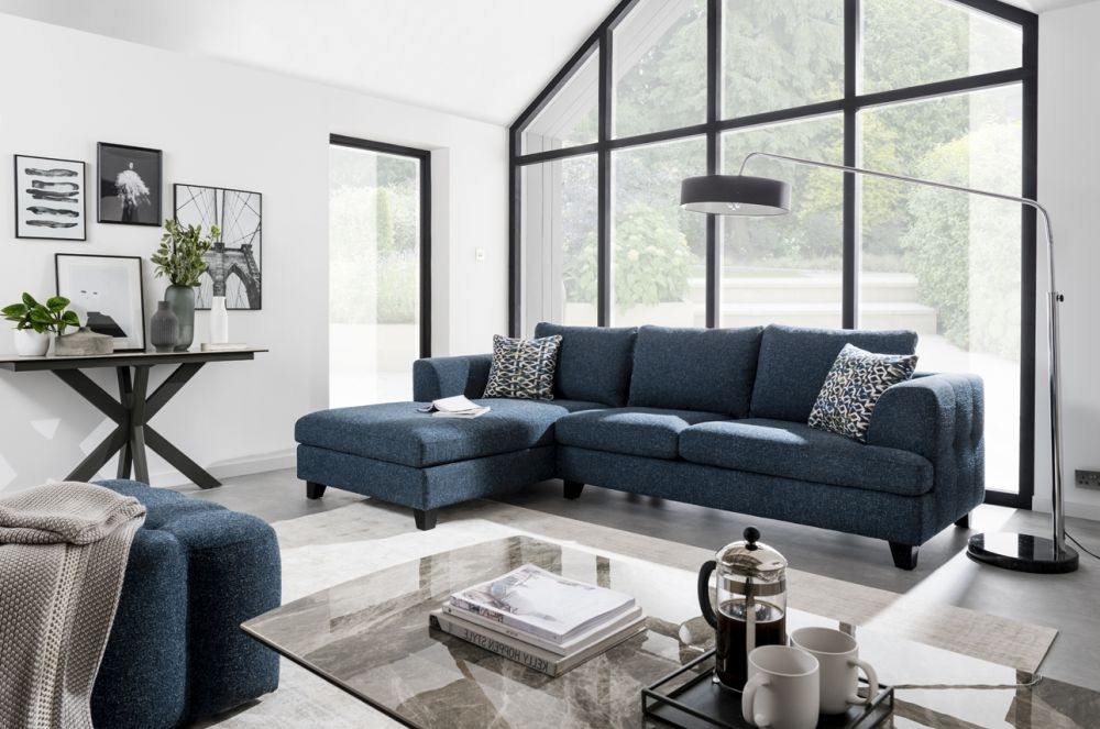 Vida Living Etta Left Corner Group Sofa - Blue Fabric