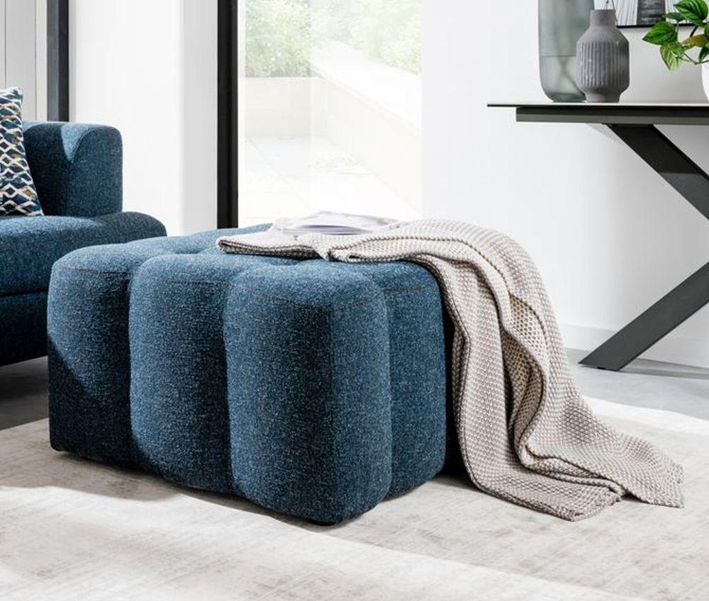 Vida Living Etta Ottoman - Blue Fabric