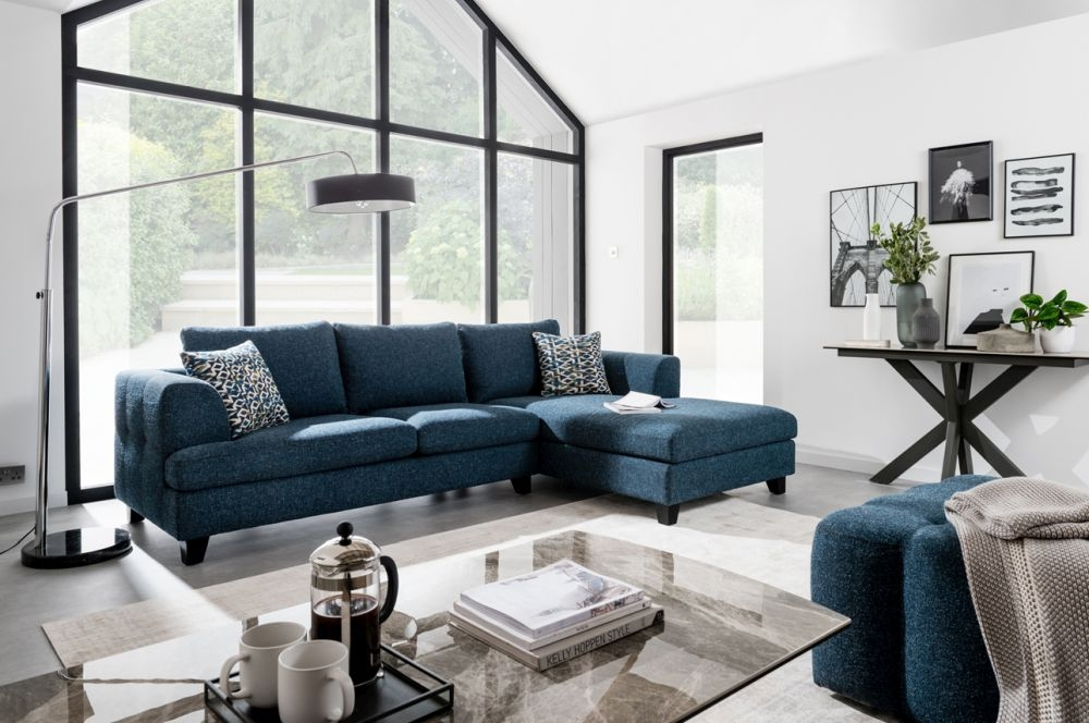 Vida Living Etta Right Corner Group Sofa - Blue Fabric
