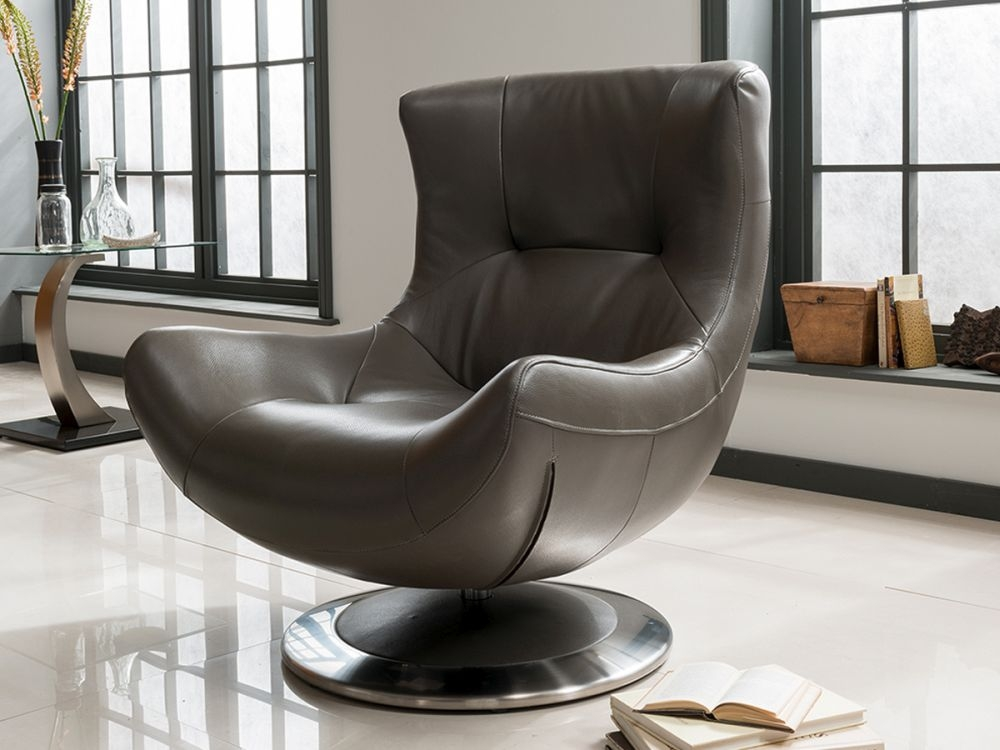 Vida Living Faberge Leather Chair - Grey
