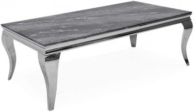 Vida Living Fabien 110cm Coffee Table - Grey Glass and Chrome