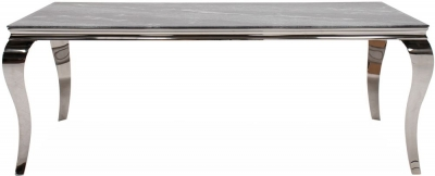 Vida Living Fabien 120cm Grey Marbled Glass Dining Table