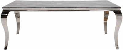 Vida Living Fabien 160cm Grey Marbled Glass Dining Table