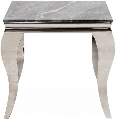 Vida Living Fabien Lamp Table - Grey Glass and Chrome