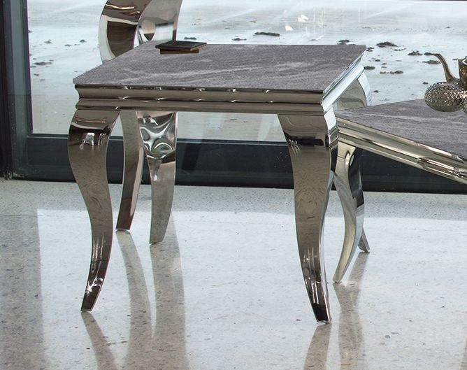 Vida Living Fabien Lamp Table - Grey Glass and Chrome