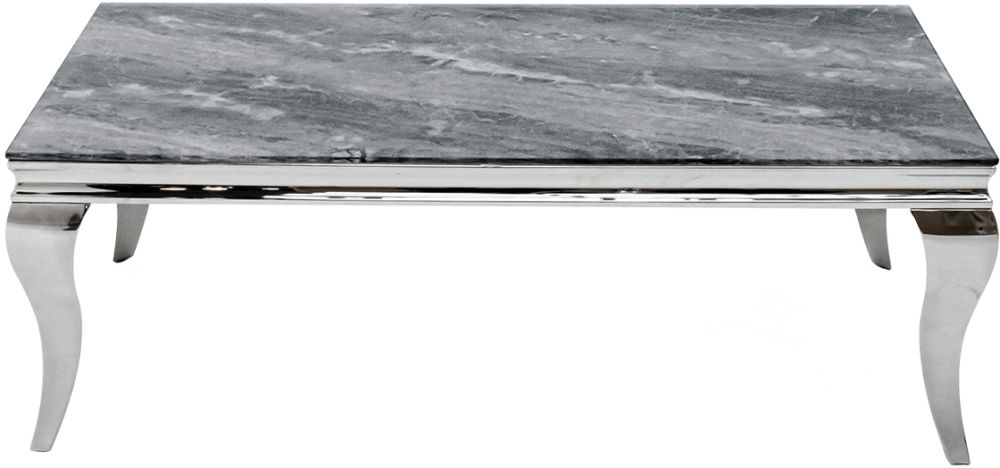 Vida Living Fabien 110cm Grey Marbled Glass Coffee Table