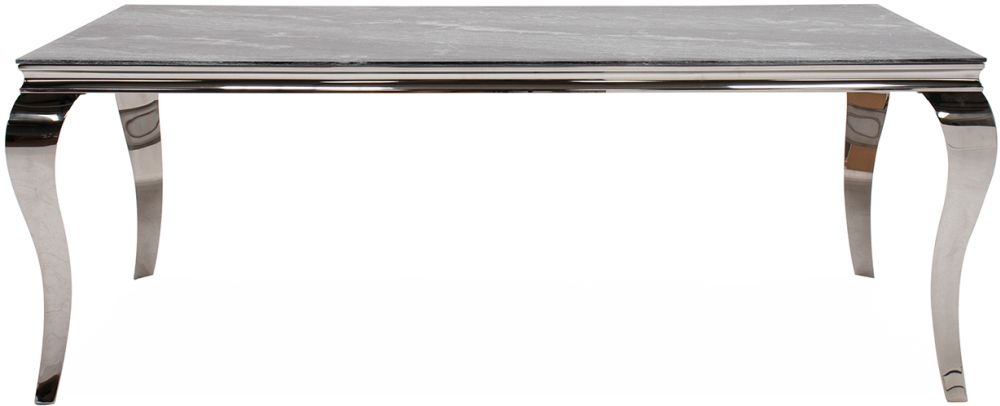 Vida Living Fabien 120cm Dining Table - Grey Glass and Chrome