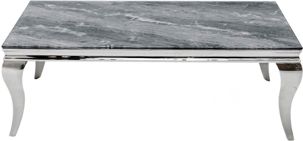 Vida Living Fabien 130cm Coffee Table - Grey Glass and Chrome