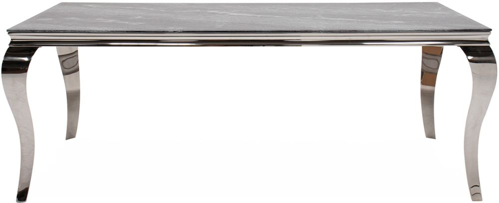 Vida Living Fabien 200cm Grey Marbled Glass Dining Table